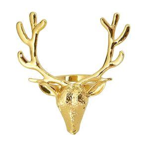 6Pcs Gold Deer Head Napkin Buckle Christmas Deer Napkin Ring Hotel Decoration Cloth Buckle Metal Napkin Ring