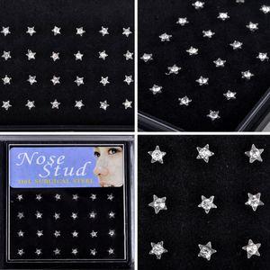 Yıldız Piercing Burun Halkası Paslanmaz Çelik Burun Halkası Çıtçıt 24pcs / pack Renkli Rhinestone Piercing Vücut Takı Küpeler
