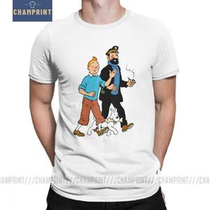 Tintin eo Capitão Haddock T para homens do algodão T-shirt ocasionais Crew Neck The Adventures of Tintin Sleeve Tee curto Roupa Y200409