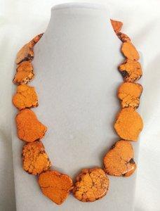 50cm 20'' Woman jewelry 25x35mm Orange Stone Baroque beads handmade huge Long Necklace gift