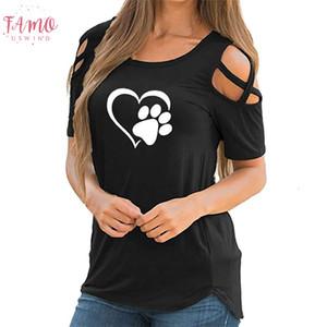 Sevimli Kısa Kollu T Shirt Kadınlar Yaz Paw Baskılı strappy Tee Gömlek Casual Soğuk Omuz Drop Shipping Tops