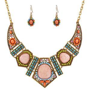 Schmuck Harz Schmuck-Sets bunte aushöhlen Geometrie ethnischen Halskette Ohrringe für Frauen heiße Art und Weise