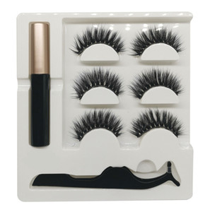 wholesale FG series 14 styles the newest High quality 3in1 5magnetics eyelashes gift box set with Magnet liquid eyeliner and tweezers 50set