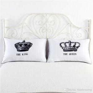 1 accoppiamento / set Casi bianco Re Regina cuscino di amore di coppia federa regalo di nozze lui e per lei o un'immagine per anniversario