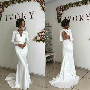 Sexy V-neck Backless Cheap Mermaid Wedding Dresses Ruched Satin Sash Boho Bridal Dress Long Sleeves Sweep Train Custom Made Robes De Mariée