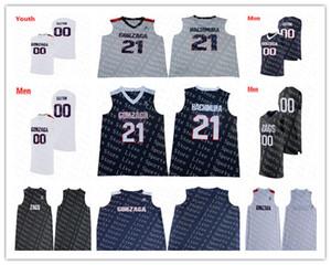 Personalizado Negro Azul marino Blanco Gonzaga Bulldogs Colegio Baloncesto 21 Rui Hachimura 15 Brandon Clarke 13 Josh Perkins John Stockton Hombres Kid Jersey