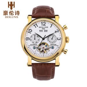 Designer-Uhren automatische mechanische Männer mit Mode Lederband Top Verkauf Luxus-Business-Retro beobachten Skelett Edelstahl BRW
