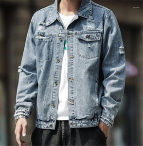 Panelled Mens Jean Jackets Casual Males Clothing Hole Panelled Mens Designer Jean Jackets Fashion Button Pockets