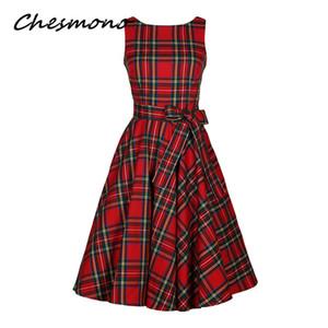 여성 O 넥 레드 타탄 체크 무늬 드레스 레트로 빈티지 50s 60 년대 핀 장식 로커 빌리 스윙 드레스 장식 새틴 Hepburn Robe Vestidos Y190123