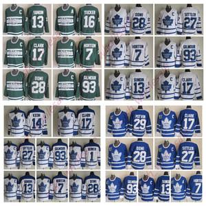Maglie hockey Toronto Maple Leafs Wendel Clark Doug Gilmour Jersey Borje Salming Darryl Sittler Tie Domi Johnny Bower cucita ManYouth