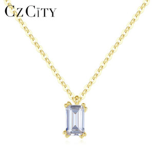 CZCITY Sólido 14k Pure gold pendant EmeraldCut por Mulheres acoplamento do casamento Ouro Amarelo Fine Jewelry Au 585 Colar N14154