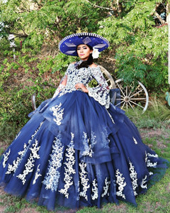Vestido 15 anos Blue Quinceanera Dresses Ball Gown Prom Skirt High Neck Lace Applique Sweet Sixteen Dress Long Sleeve Masquerade Puffy Party