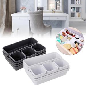 Inicio Creative Organizador de cajones caja de bandejas de almacenamiento Caja de almacenamiento Oficina Cocina Cuarto de baño Armario de maquillaje joyería turística Organización Box