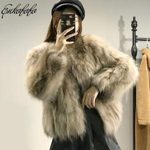 2019 New Arrival Mulheres Winter Grosso Fur Fur Jacket Brasão de alta qualidade Raccoon Brasão Crew Neck manga comprida Outfit real