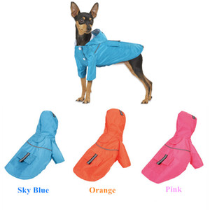 Wholesale Hooded Pet Dog Raincoats double-deck Puppy button pocket Puppy Waterproof Dog clothes outdoors button jumpsuits solid outfit 0121