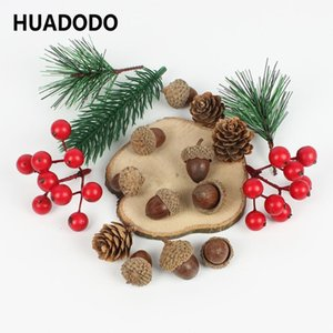 HUADODO Artificial pine needles Dried flowers Acorn Garlands DIY Accessories For Home Christmas Decoration New Year Decor