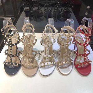 2020 nuovo progettista di lusso della vite prigioniera sandali del cuoio genuino con laccio dietro pompe signore sexy alti talloni di modo rivetta partito scarpe tacco alto