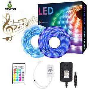12V LED Strip IP65 30Leds M 5M 10M 5050 SMD RGB 5050 SMD LED Strip Kit with Adapter 24keys Music Controller