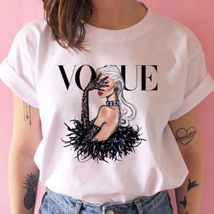 Kadın Casual Sevimli Gömlek Baskı Tops Temel Kısa Kollu Yumuşak Bluz Boyut 20 Renk seç (S-3XL))