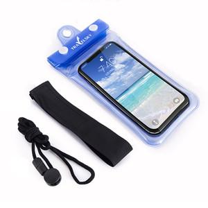 Universal 6inch 5inch Celular à prova d'água Natação Pouch Case Limpar PVC selada Underwater Telefone celular sacos proteger com Strap DH1132 T03