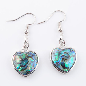 WOJIAER Heart Shaped Drop Earrings Natural Shell Abalone Shells Dangle Earring Fashion Love Jewelry for Women DR3217