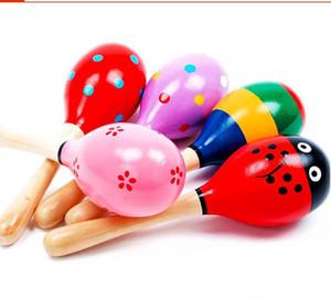 Teste padrão colorido de madeira Maracas Brinquedos Orff Musical Instruments bebê de madeira Rattle Areia Martelo Preschool Exercício auditivo da criança colorida dos desenhos animados