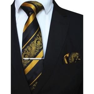 3PCS Tie Floral Homme Mouchoir Set rayé jaune 8cm cravate rouge Pochette en clip pour les hommes Accessoires de mariage