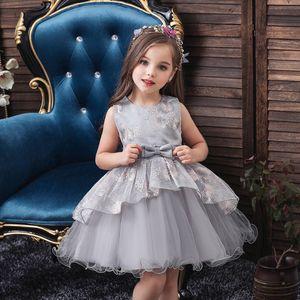 Small Girl's Dresses Bow Emboridery Kids Dress Fashion Princess Performance Costumes Dress Flower Children Dress