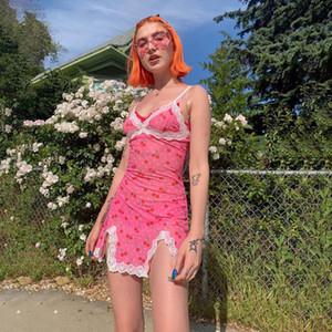 Yaz Pembe Elbise Kadınlar Streetwear Seksi Sevimli Kiraz Sundress Dantel Robe Ete Bölünmüş Kısa Kısa Vestdido Dollskill Parti Elbise yazdır