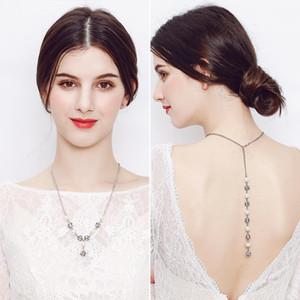 novias europeas y americanas atrás cadena collar de perlas colgantes de moda, nupcial accesorios de la boda regalos