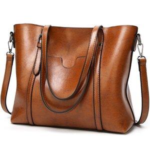 Feminina Kadın Casual Messenger Bag Omuz Lady Lüks Tasarımcı Crossbody Totes için 2020 Kadınlar Çanta Yağ Wax PU Deri Çanta