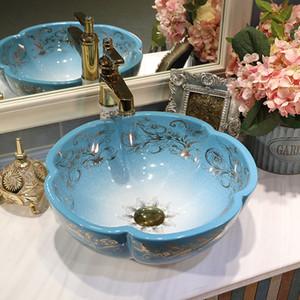 Fleurs de style Art Céramique puits du bassin de comptoirs Lavabo Lavabos vanités un shampooing lavabo