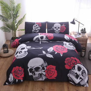 Simple Reine Roi 3D Linge de lit Noir Motorcycle skull imprimé housse de couette de lit Linge de lit Literie Aucune feuille