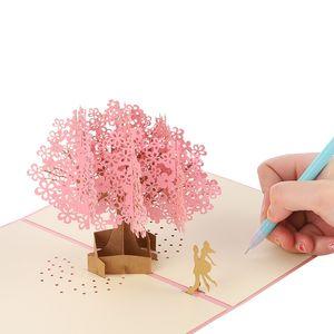 Wholesale Handmade 3D Up Cherry Blossoms Tree Lover Valentine Anniversary Paper Sakura Greeting Invitation 3D Cards