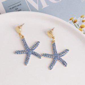 Cute Blingbling Star Drop Dangle Earrings Fashion Shiny Blue Colorful Rhinestone starfish Earrings For Women Girls Gift