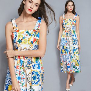 Fashion Runway Summer Dress 2020 New Women's Bow Spaghetti Strap Backless Blue and White Porcelain Floral Print Long Dress