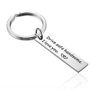 Драйвер подарка Keychians Drive Safe Handsome I Сеть Любовь Вы Key для любителей автомобилей Key Holder Валентина Брелок Муж Напомните Рождественский подарок