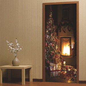 DSU Christmas Fireplace Wall Sticker Mural Bedroom Door Poster Home Decor
