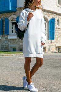 Capuche Robes Fashion Designer lâche manches longues Casual Dress Vêtements pour femmes Automne Femmes solides