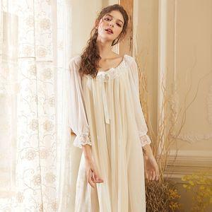 Wasteheart Women Fashion Yellow Pruple Sexy Sleepwear Nightdress Lace Nightwear Sleepshirts Long Luxury Nightgown Court Gown