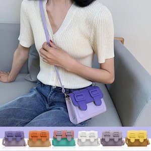 2020 Summer Casual Hit Color Wild PU Leather Crossbody Bag Women Small Square Shoulder Small Square Pouch
