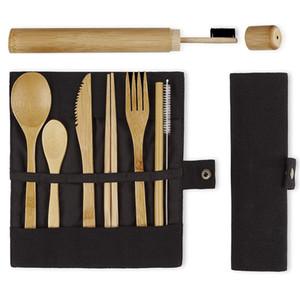 Nuevo estilo de elevación cuchara juego de cubiertos de bambú cuchillo tenedor desechable viaje saludable cubiertos biodegradables respetuoso del medio ambiente reutilizable con el caso