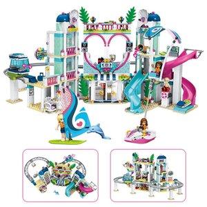 2019 Lele Amis 1039Pcs Le coeur Lake City Resort Modèle LegoINGly Amis 41347 Briques Building Block jouets pour les enfants S200112