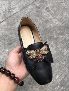 Hot SAEL-Designer donne ballerine scarpe di cuoio con l'arco Perle Bee fannulloni delle ragazze delle donne Primavera Estate Sandali piatti LoaferWith Box t10