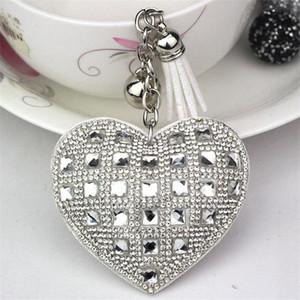 Forma de moda Keychain Coração Feminino completa grânulos de vidro Key capas de couro Mosaic franjada Chaveiro Car Anel Cap presente