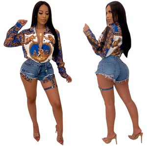 2019Hot Summer Womens Loose Blouses Colorful Geometric Print Women Designer Shirts Female Sexy Clothing New Arrival