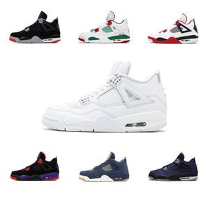 NakeskinÜrdünRetro Bred Kara Kedi 4 4s basketbol ayakkabıları çimento encore kanatları yangın Saf para eğitmen spor ayakkabı tek tasarımcı kırmızı
