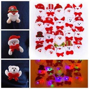 Led Christmas Brooch Badge Decorations Xmas Santa Claus Snowman Deer Bear Glow Flashing Brooch Plush Toys party Gift props FFA3231