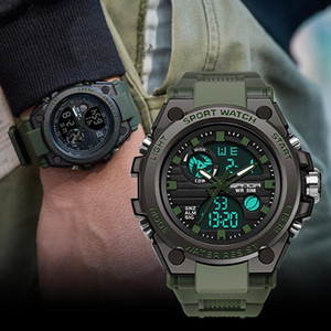Outdoor waterproof Men Sport Watch 5 Colors Dual Display Analog Digital LED Electronic Wrist Watches Tactical Accessories Sports Equipment