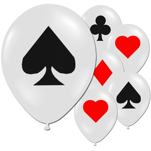 Joker látex Balões Bar festa de solteira aniversário 100pcs Pôquer Spade Coração Clube Diamante Decoração Balão Playing Game Ballon